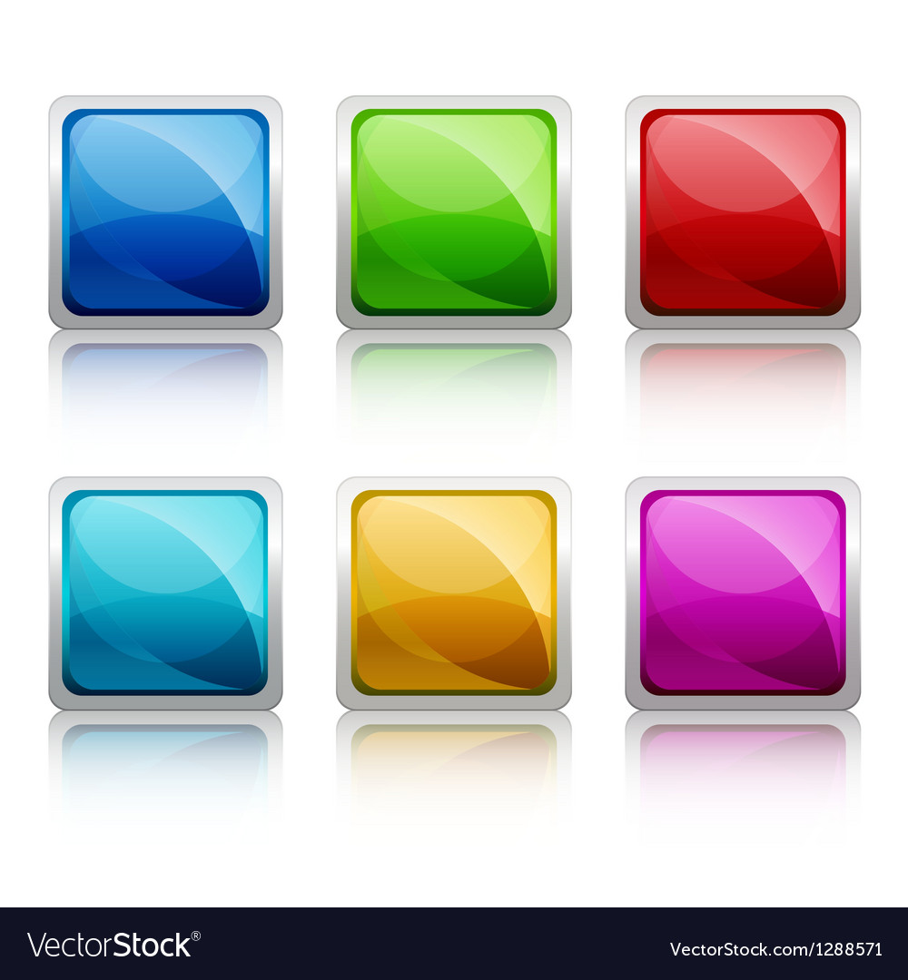 set of colourful square glass botton royalty free vector