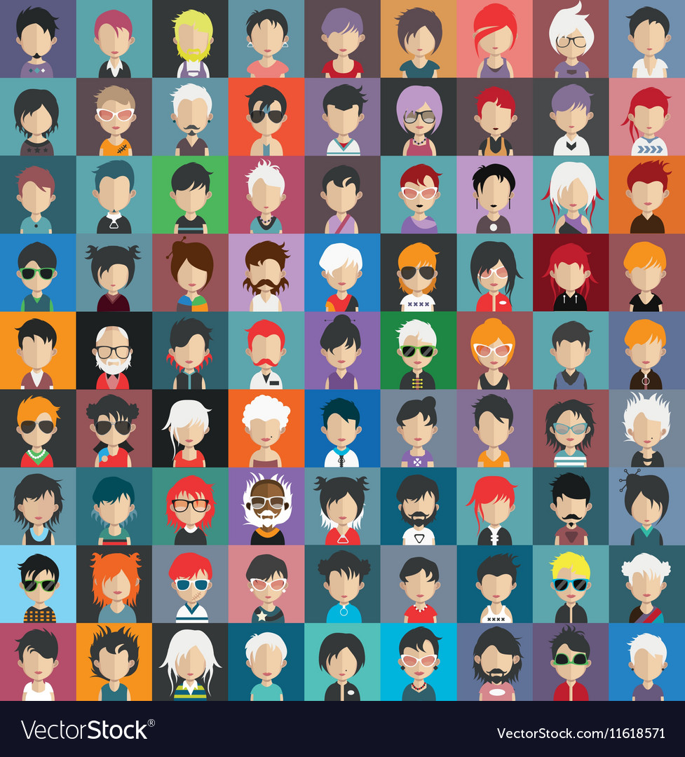 Set of people icons in flat style with faces 20 b vector image