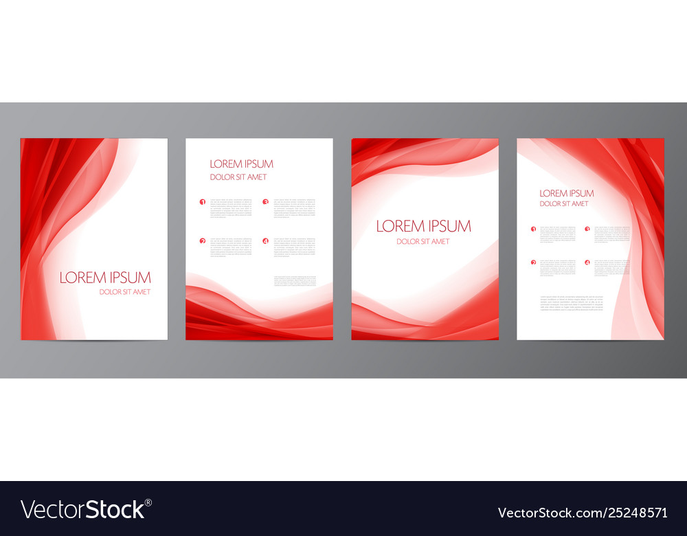Set red wavy abstract covers brochures