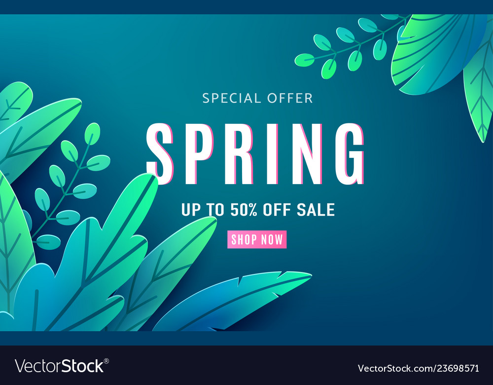 Spring sale background banner with fantasy leaves