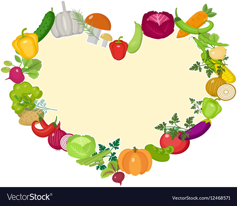 Vegetables frame in the shape of a heart Flat