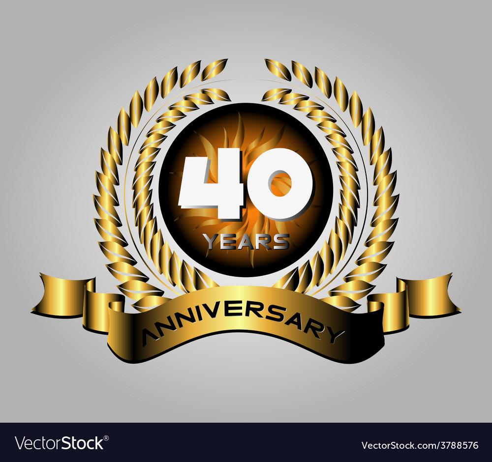 40 Year Anniversary Golden Label 40th Anniversary Vector Image