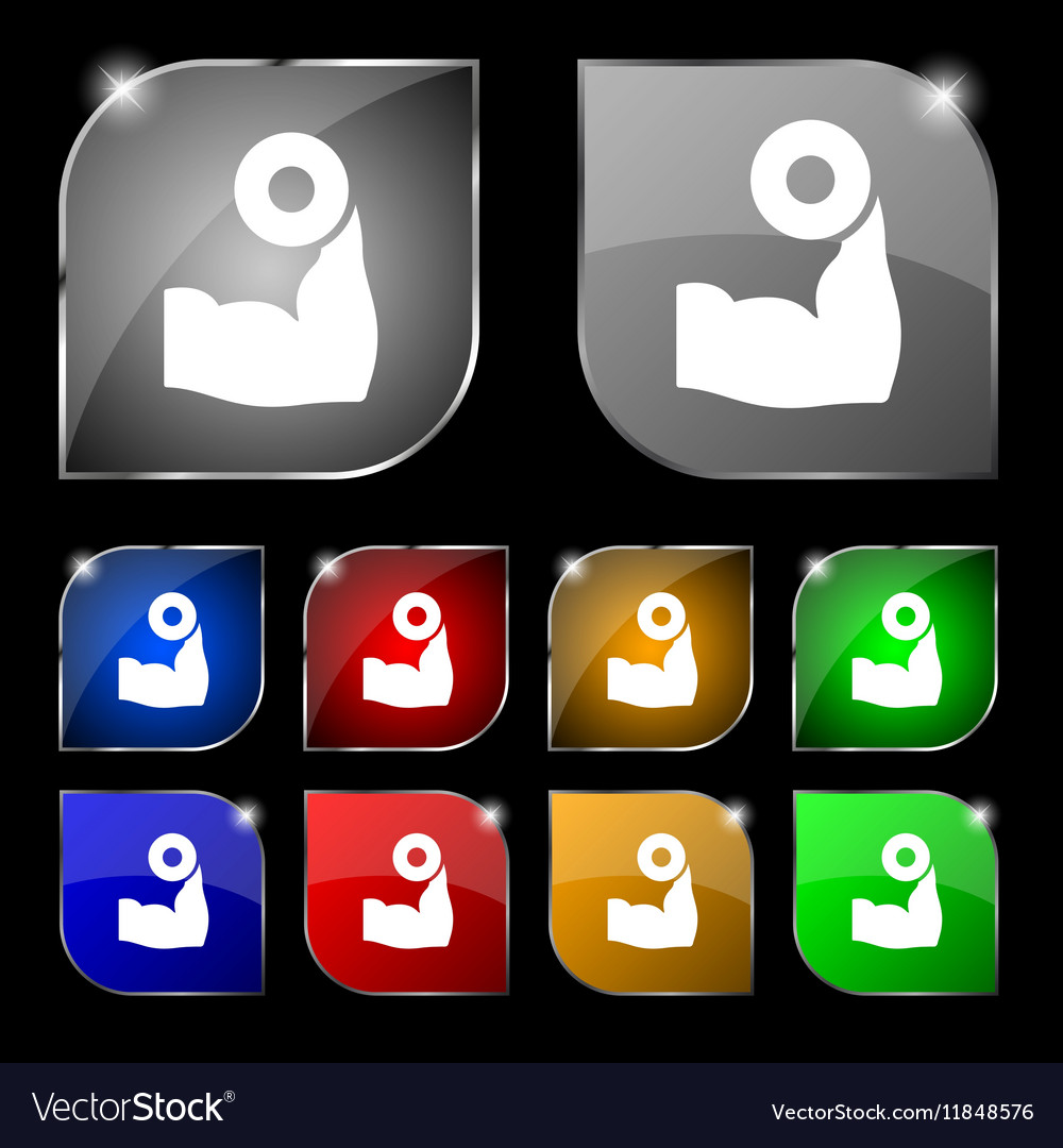 Arm muscle with dumbbell in hand icon sign Set of