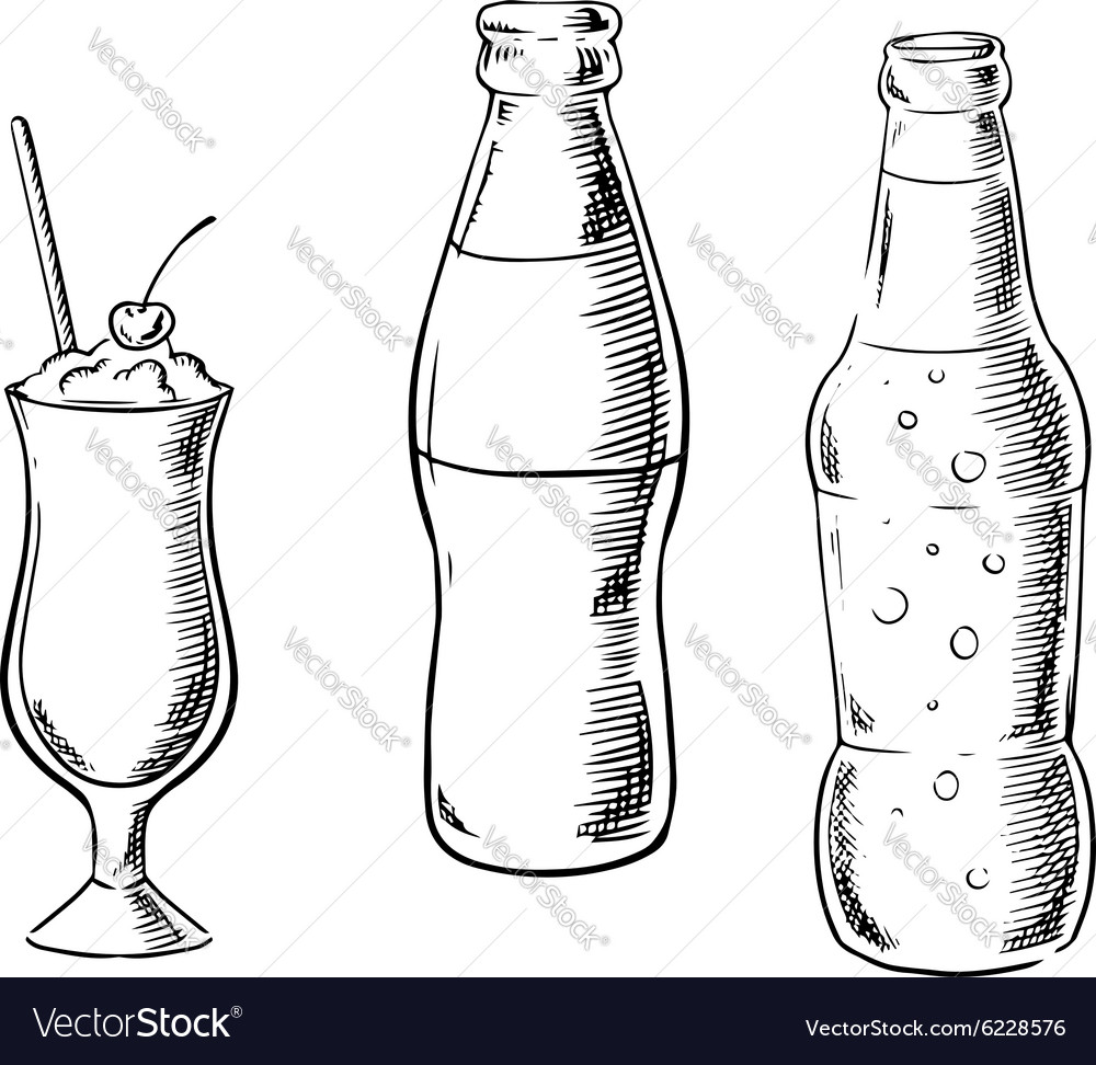 Beer sweet soda and cocktail sketches