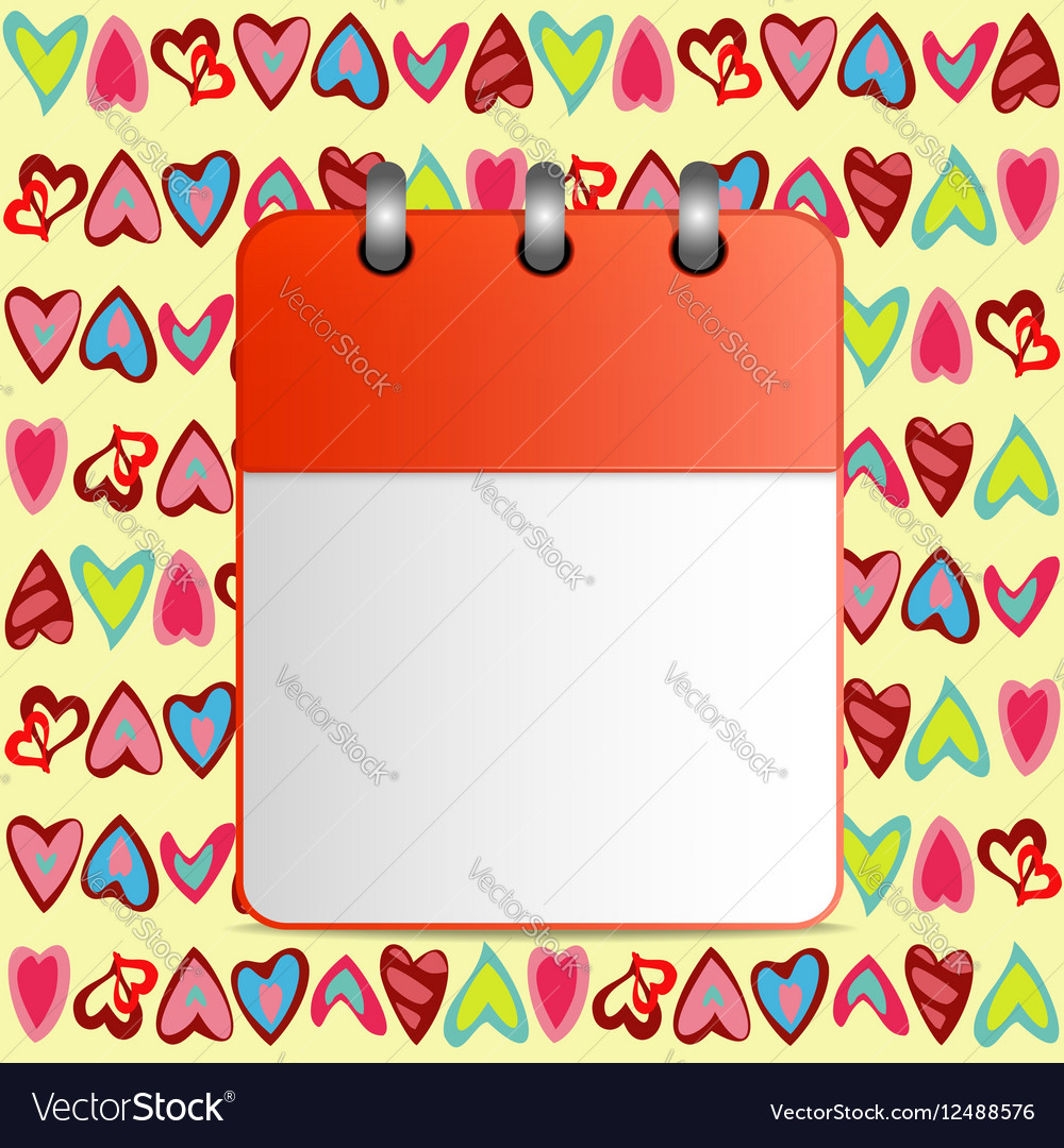 Blank calendar page on the background of hearts