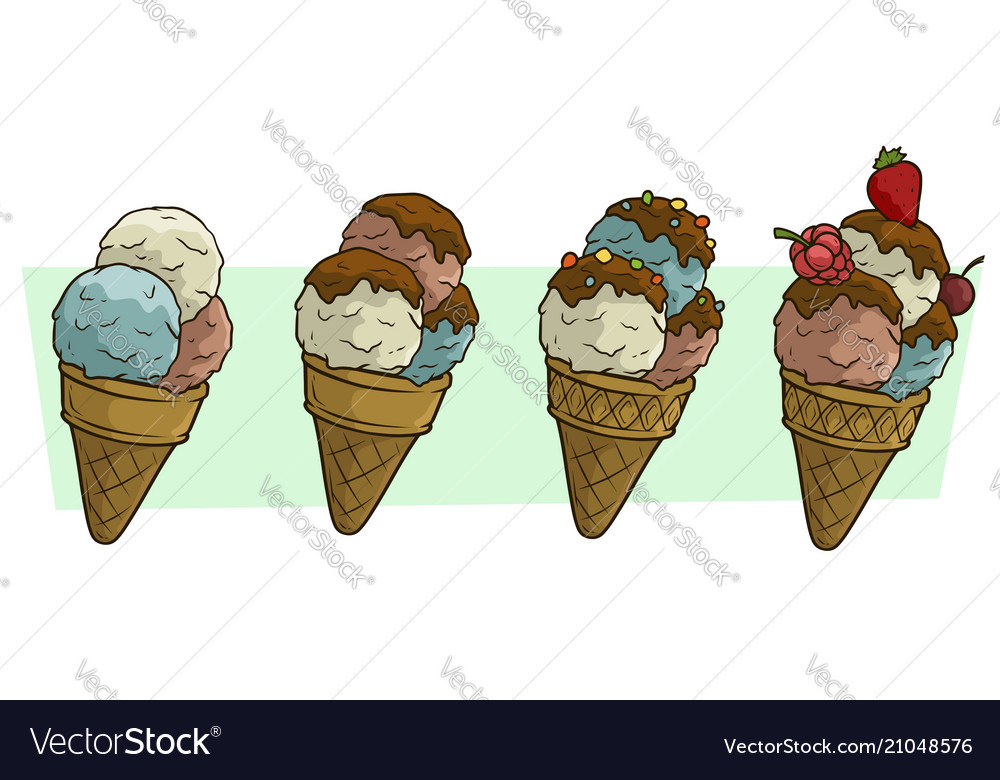 Cartoon three ice cream balls in waffle cone