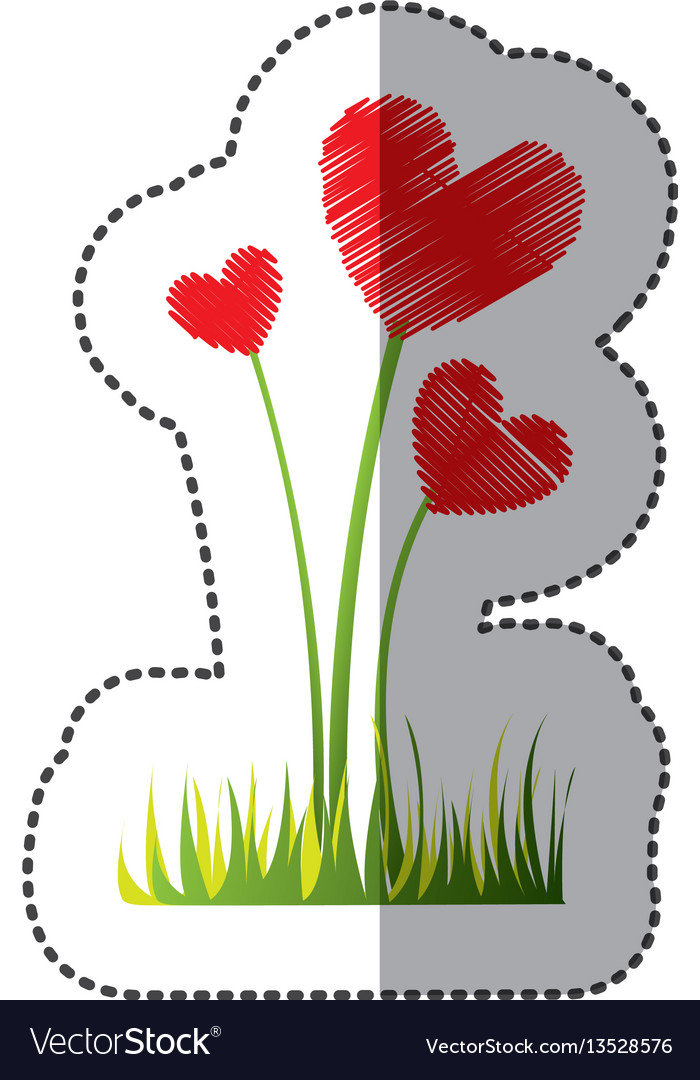 Color plant heart icon vector image