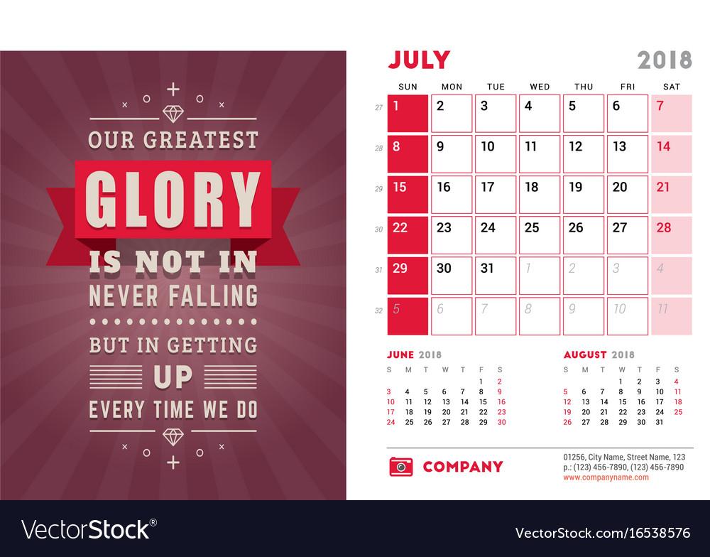 Desk calendar template for 2018 year july design vector image saigontimesfo