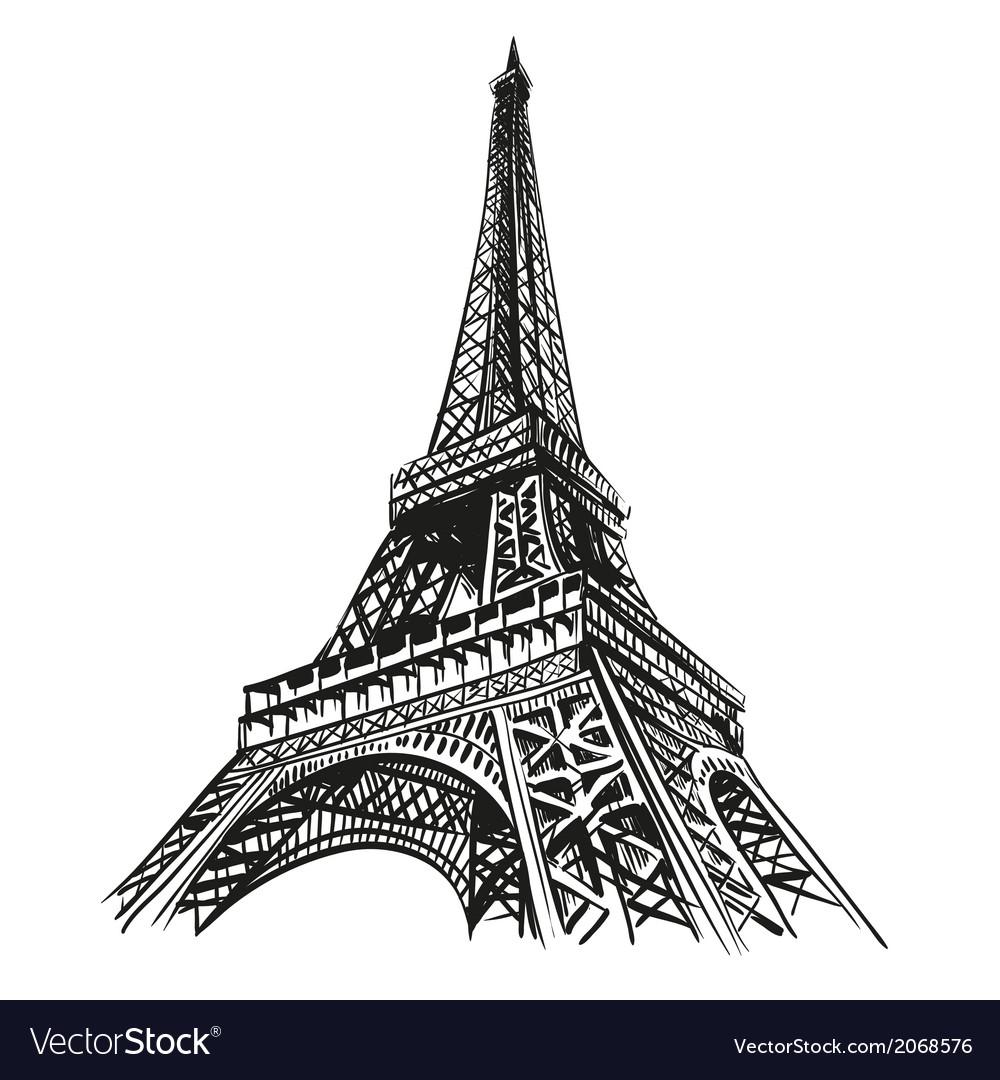 Eiffel tower hand drawn Paris
