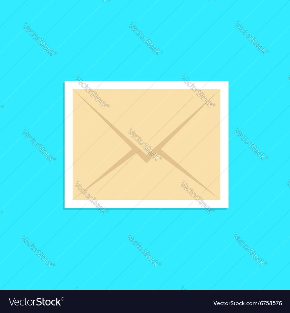Envelope icon sticker isolated on blue background