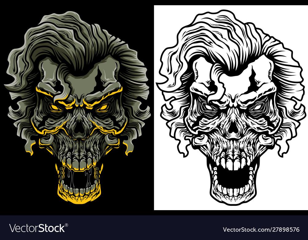 Evil skull with hair