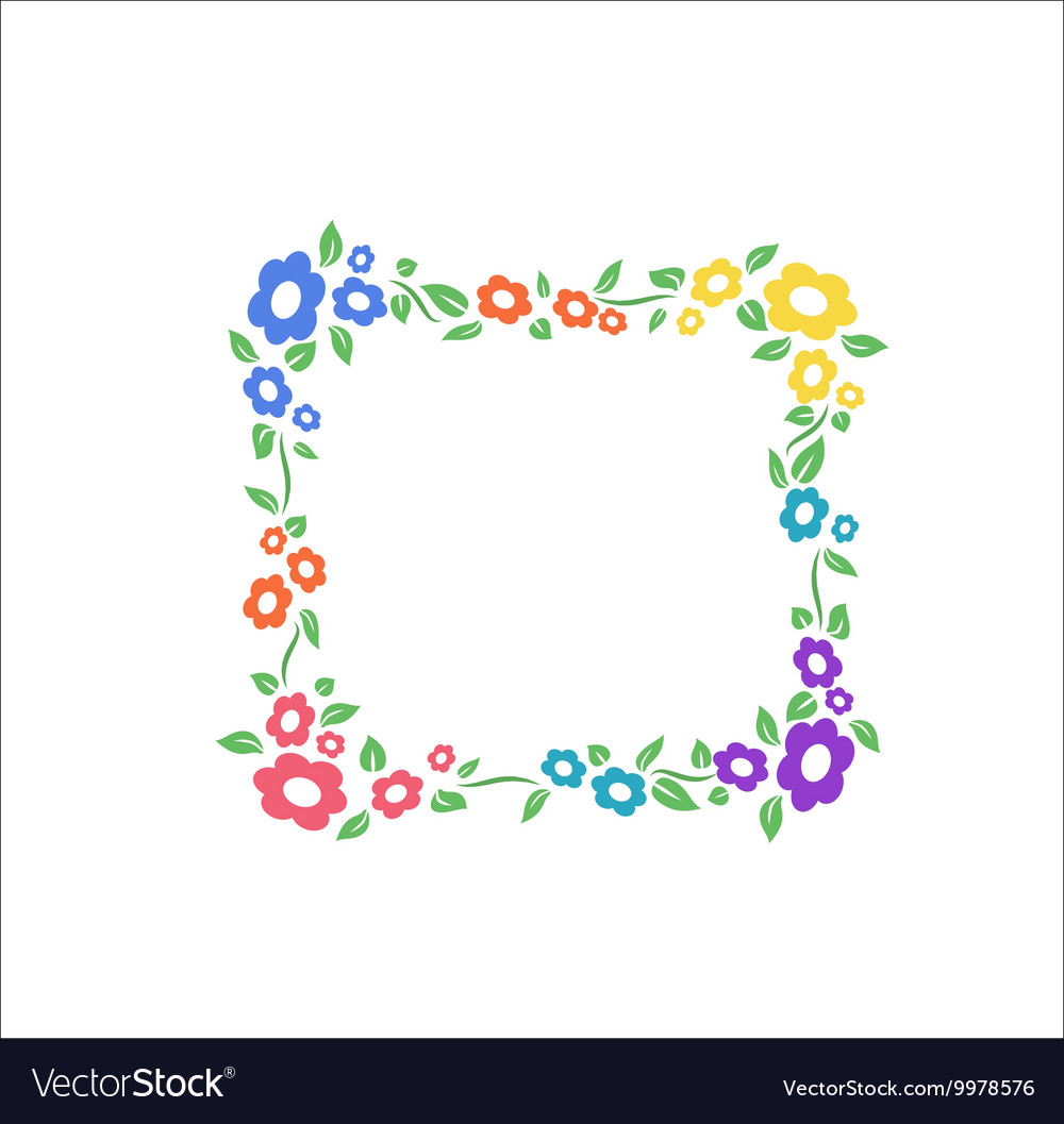 Flower different pastel color square frame vector image