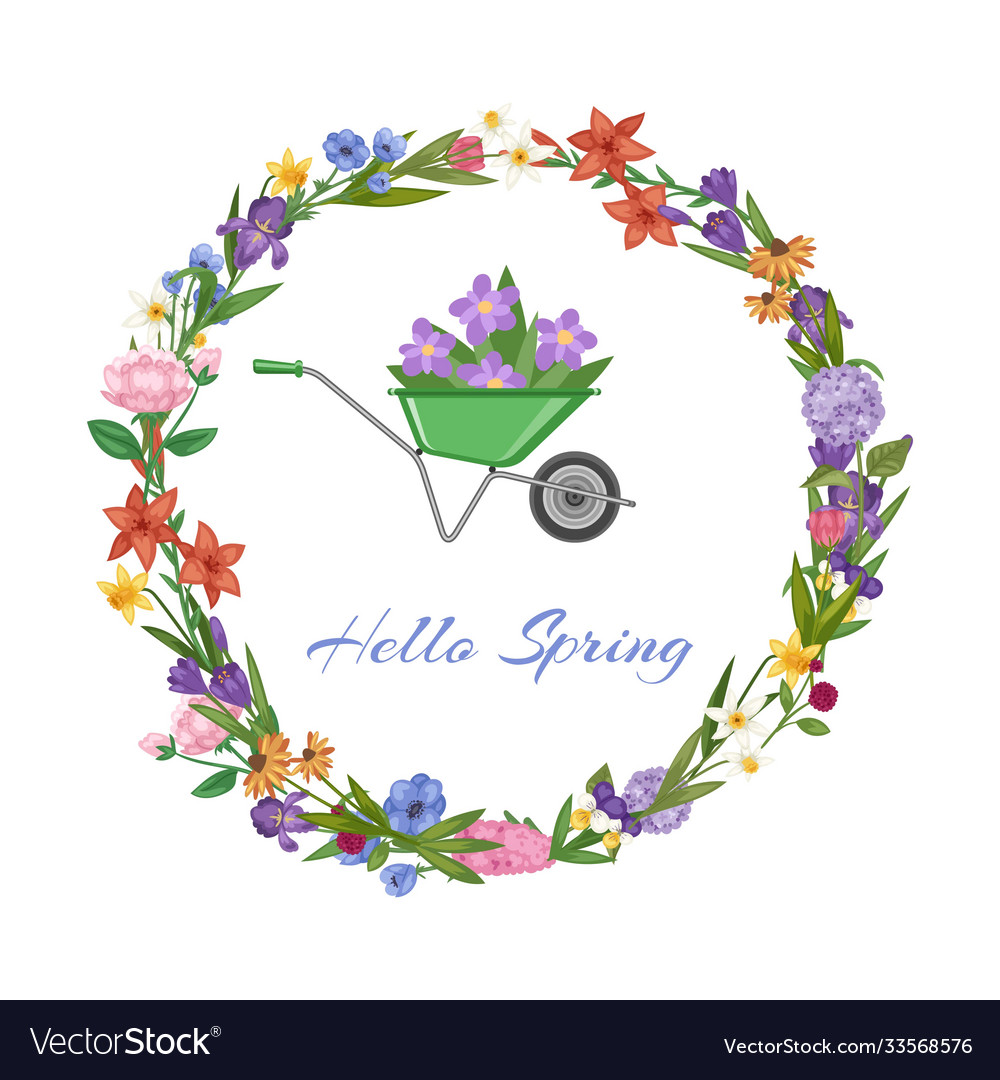 Hello spring lettering and wreath banner bright
