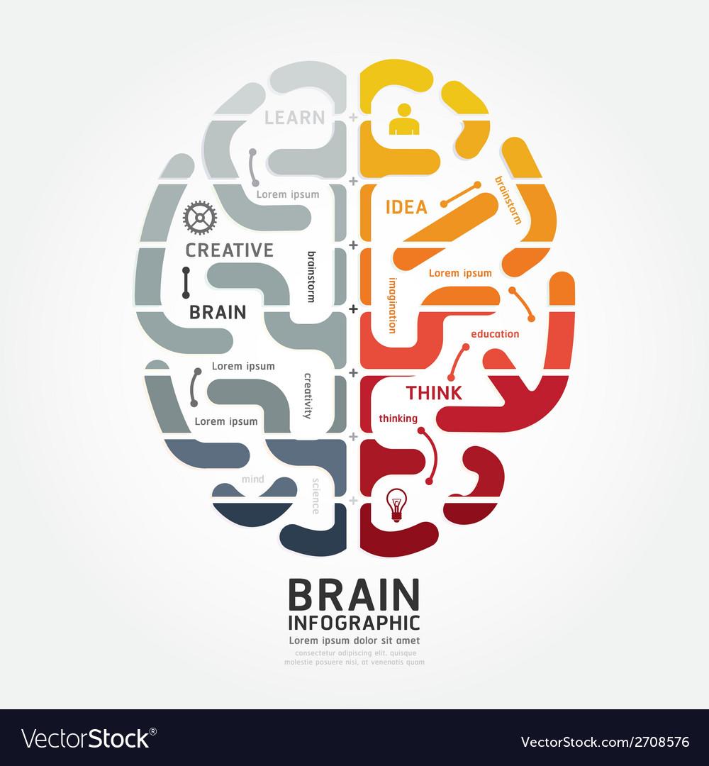 Infographics brain design diagram point style
