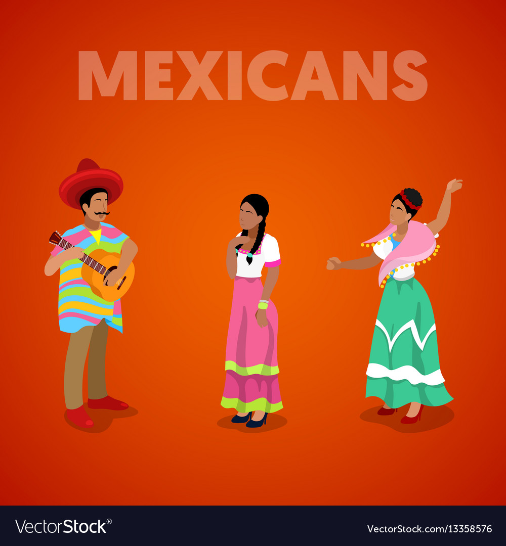 Isometric mexican people in traditional clothes