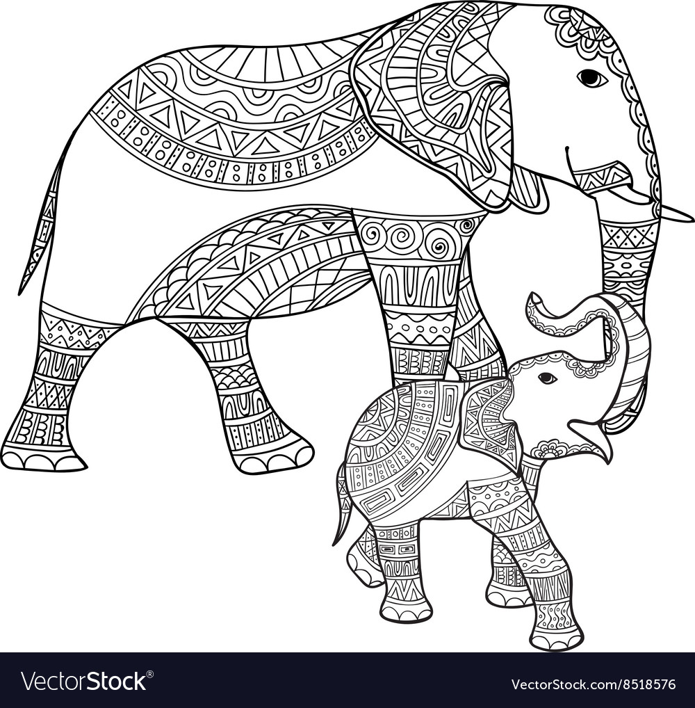 Mother elephant and bablack white doodle