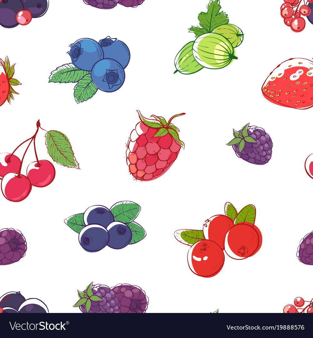 Ripe berries on white background seamless pattern