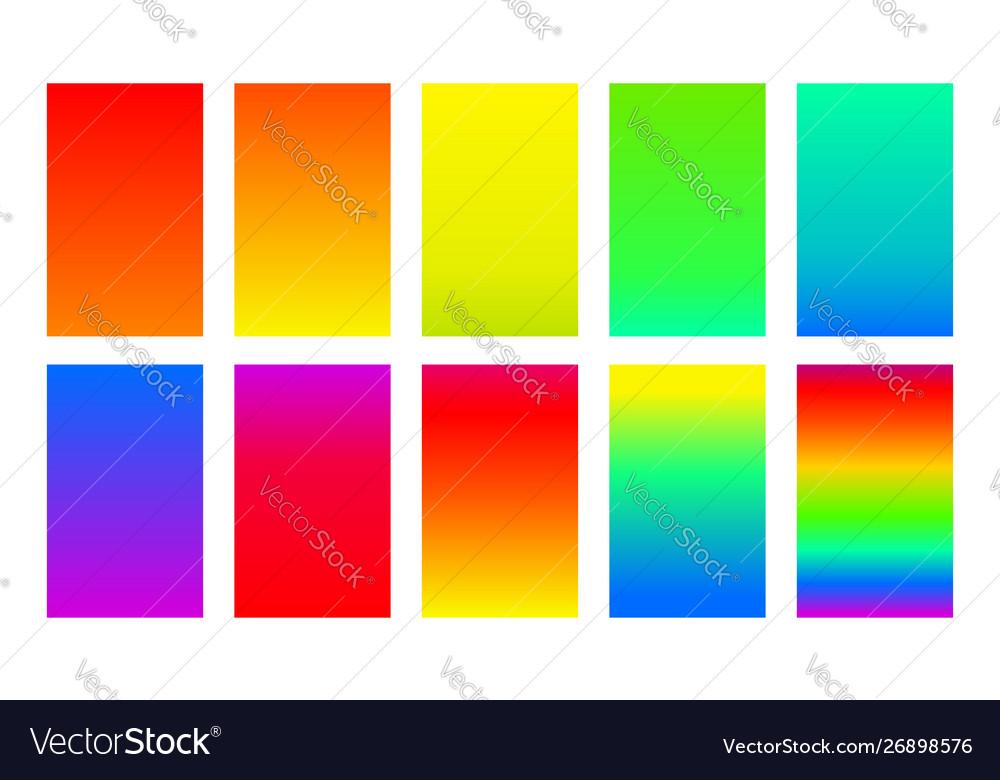 Set gradient backgrounds rainbow color palette