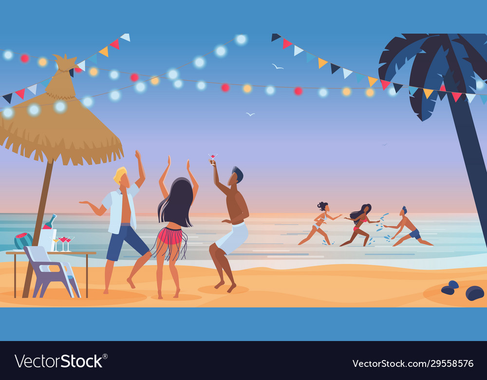 Young people friends dancing on beach cartoon