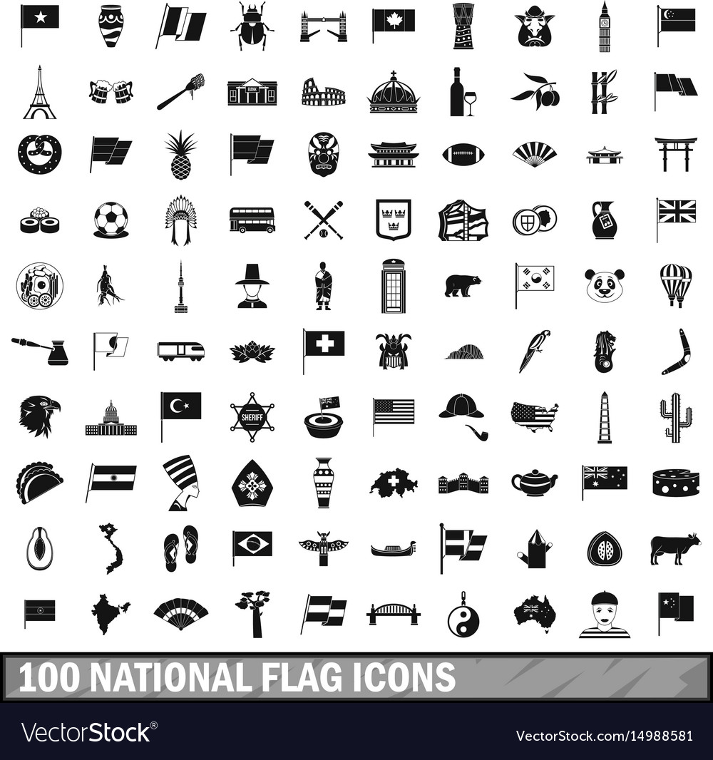 100 national flag icons set simple style