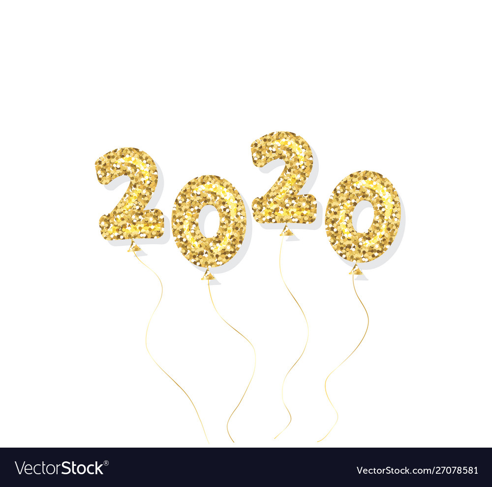 2020 new year gold glitter balloon numbers