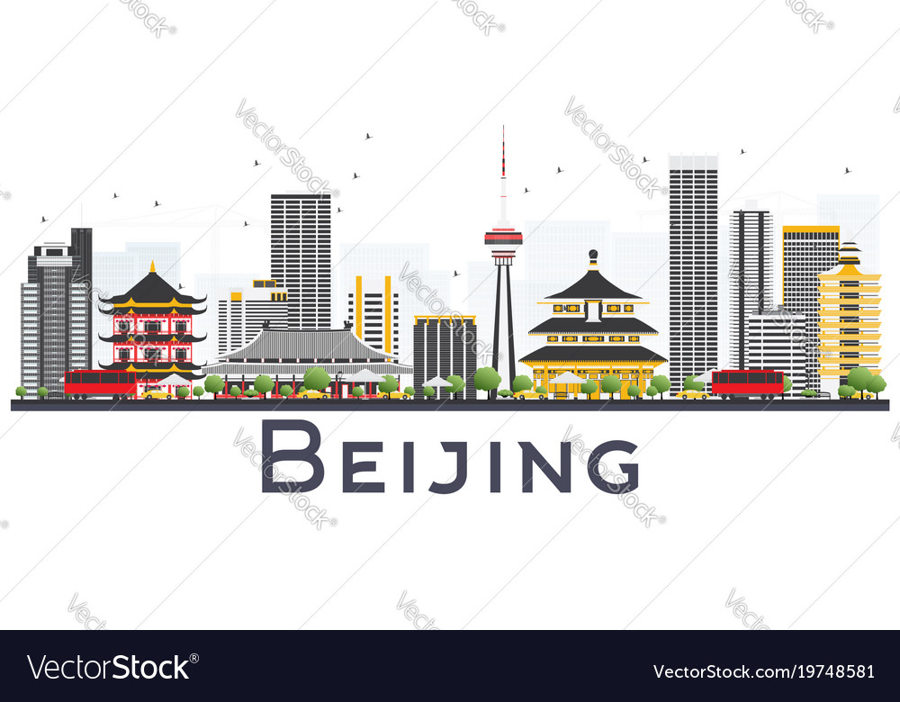 Beijing china city skyline with gray buildings