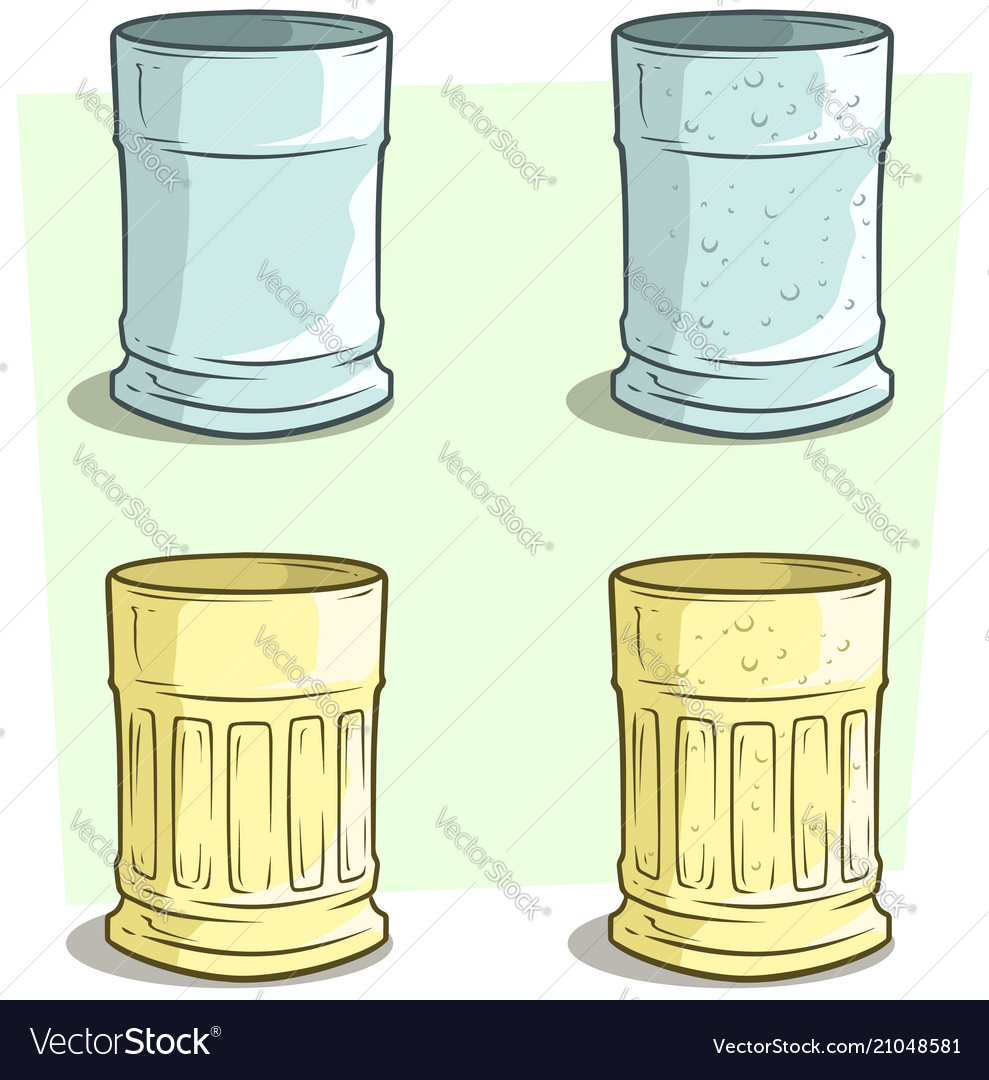 Cartoon blue and yellow empty glass set
