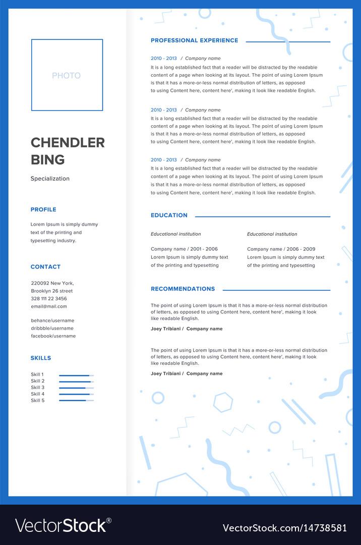 Cv Template Minimalist Resume Web Page Job Vector Image