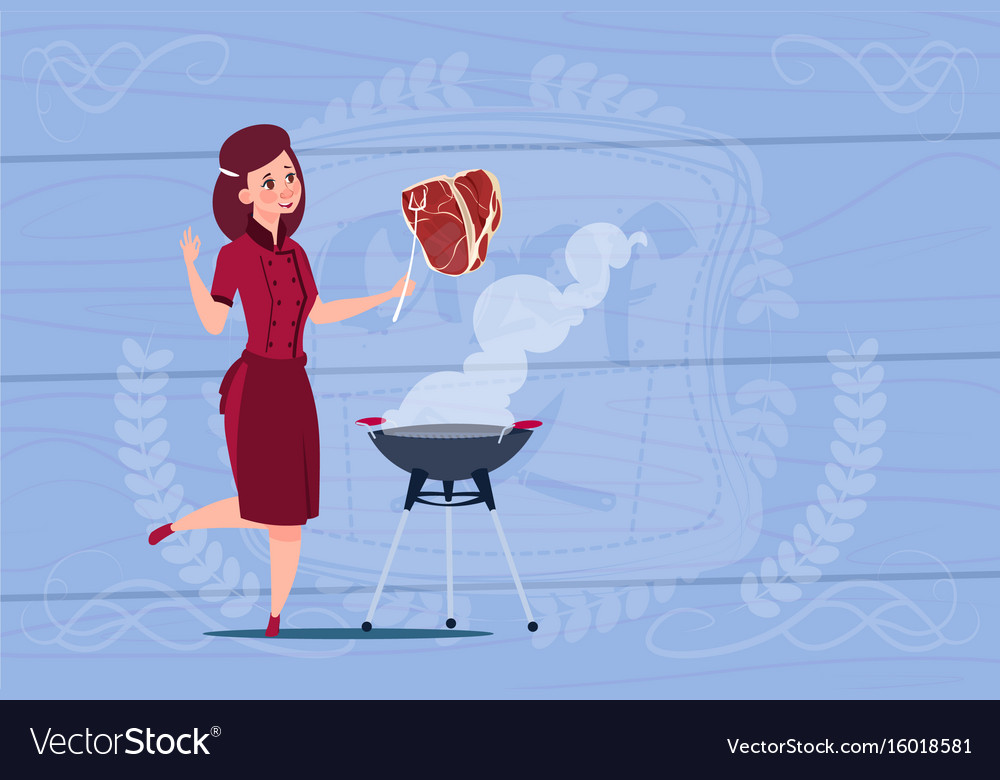 Female chef cook grilling meat cartoon chief in