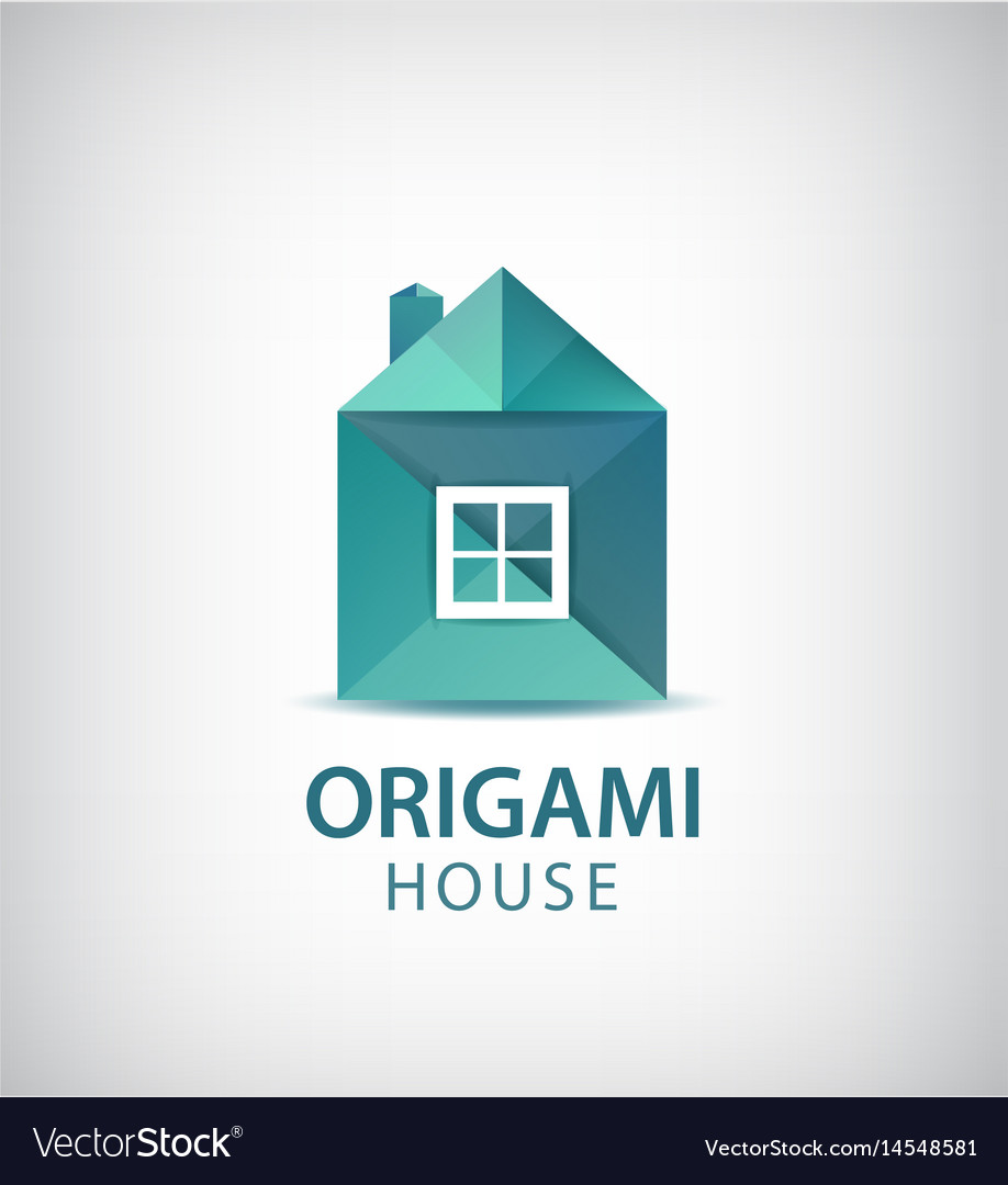 Green Origami House Building Logo Icon Vector Image