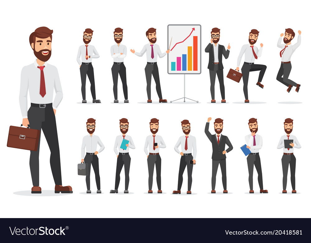 Handsome office businessman character different