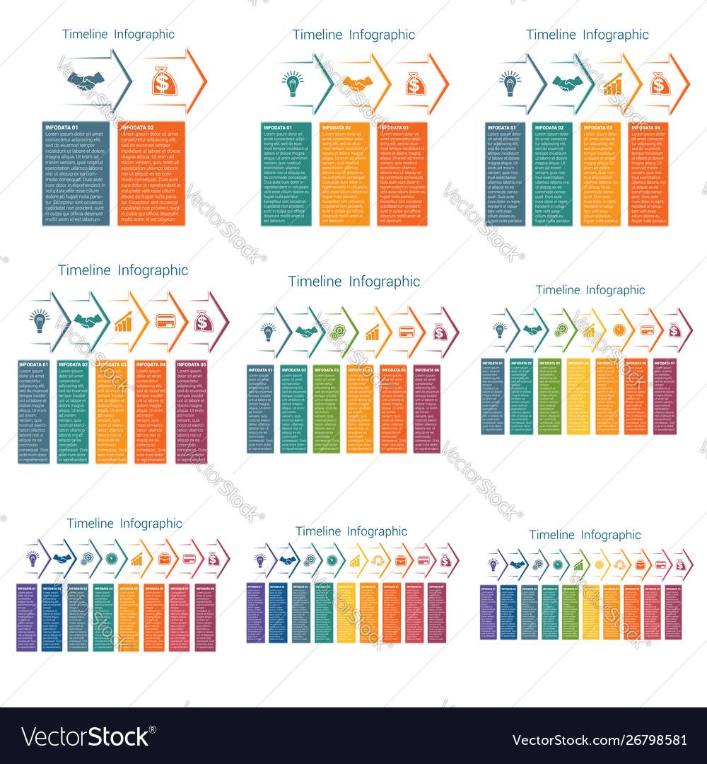 Horizontal color arrows templates infographics