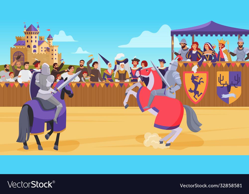 Medieval knight joust battle