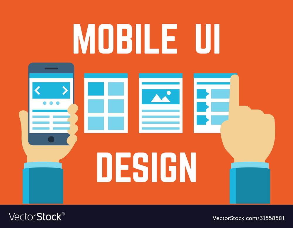Mobile application interface concept in flat style