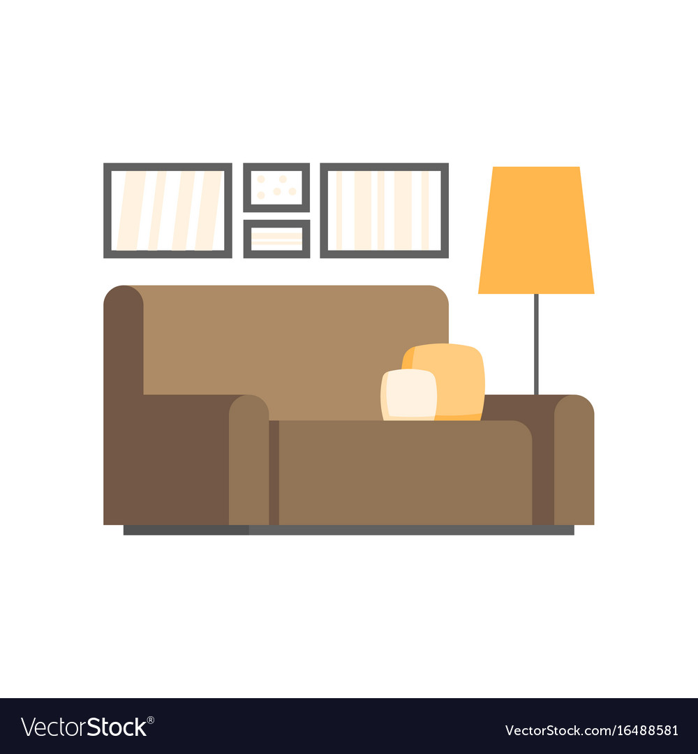 Modern living room interior design icon Royalty Free Vector