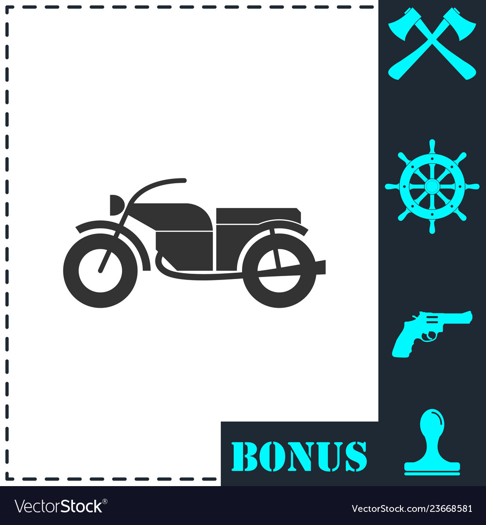 Motorcycle icon flat