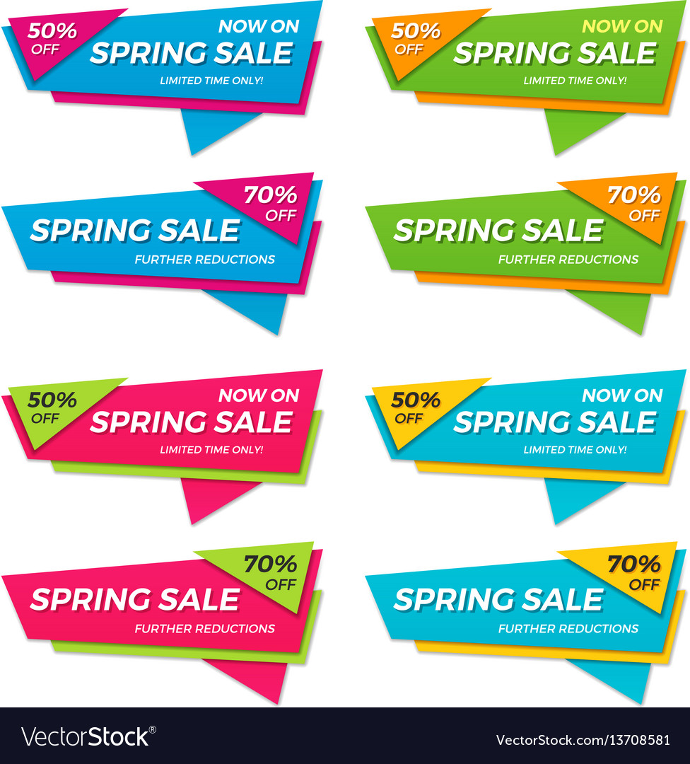 Set of spring sale labels price tags banners