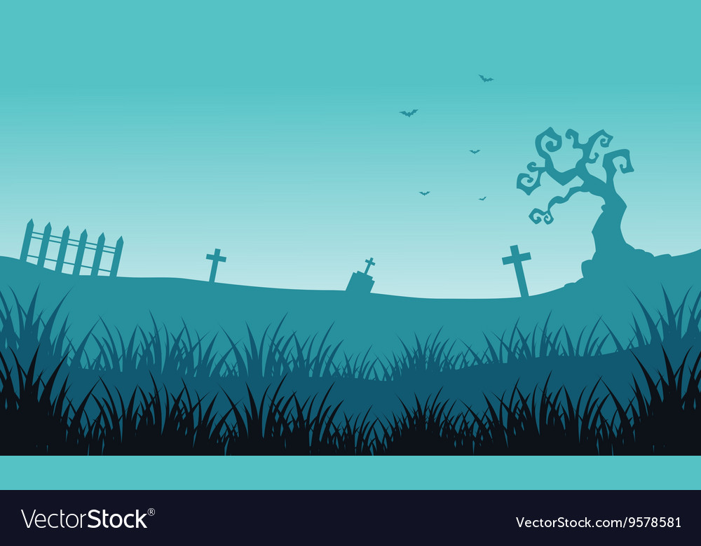 Silhouette of tomb and fog Halloween backgrounds vector image