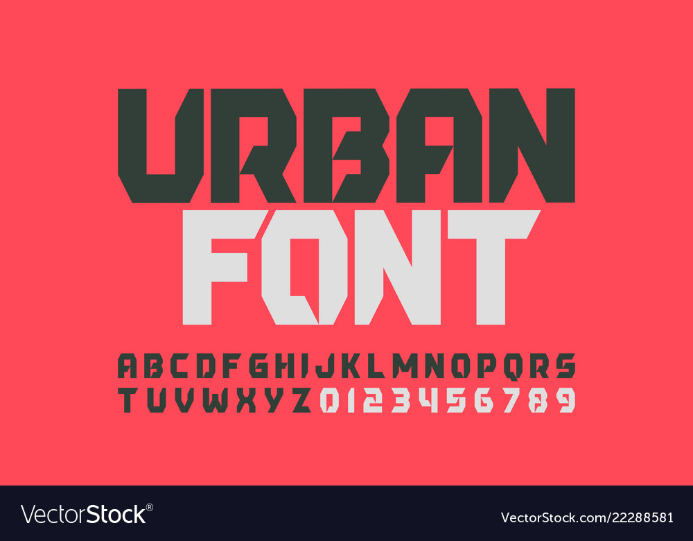 Urbanism style font design alphabet letters and