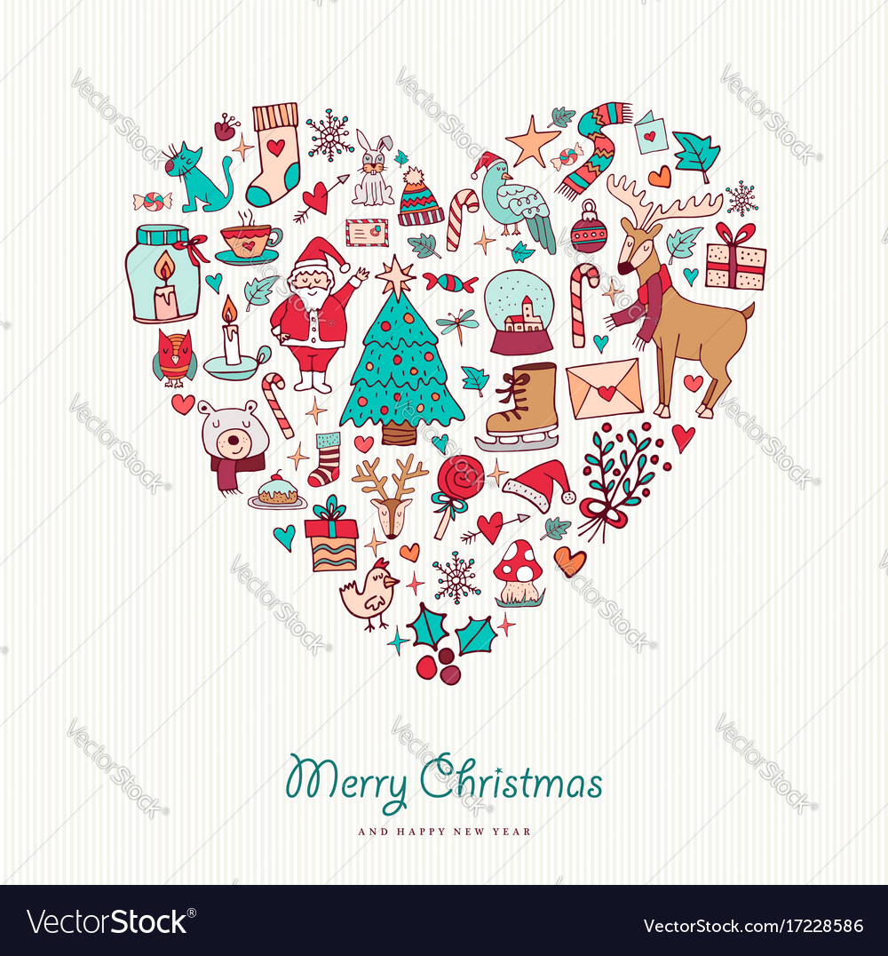Christmas and new year hand drawn icon heart