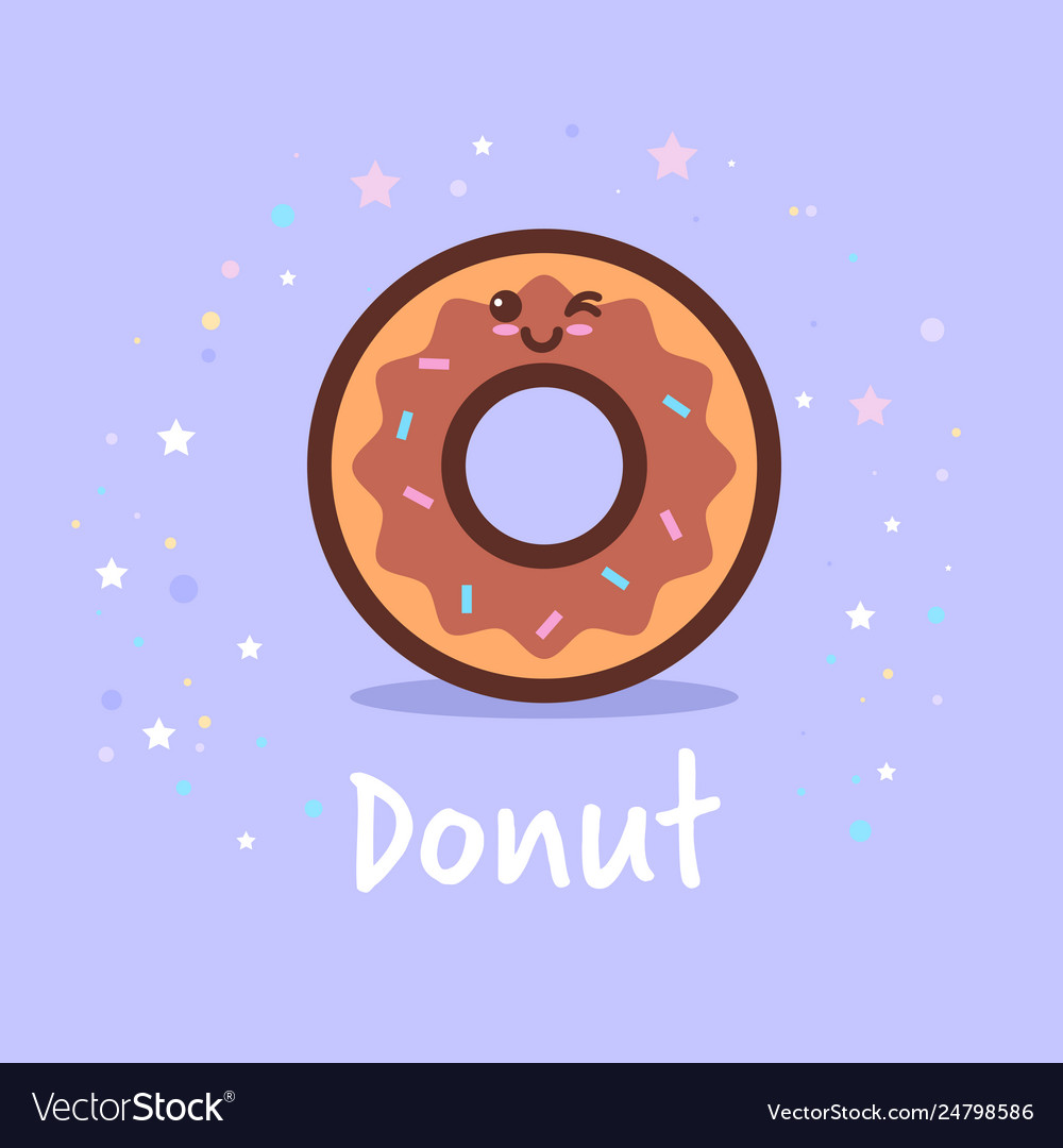 Cute donut cartoon comic character with smiling