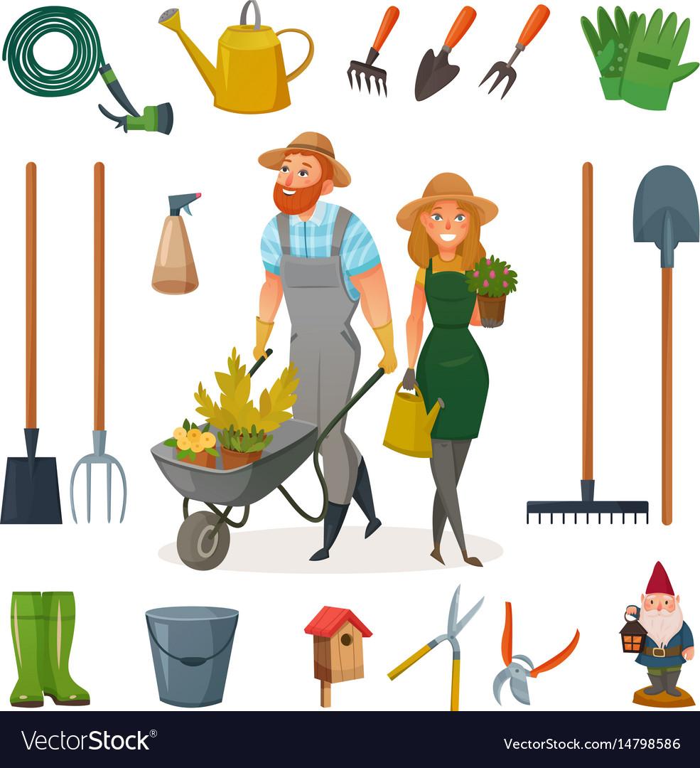 Gardening Cartoon Icon Set Royalty Free Vector Image