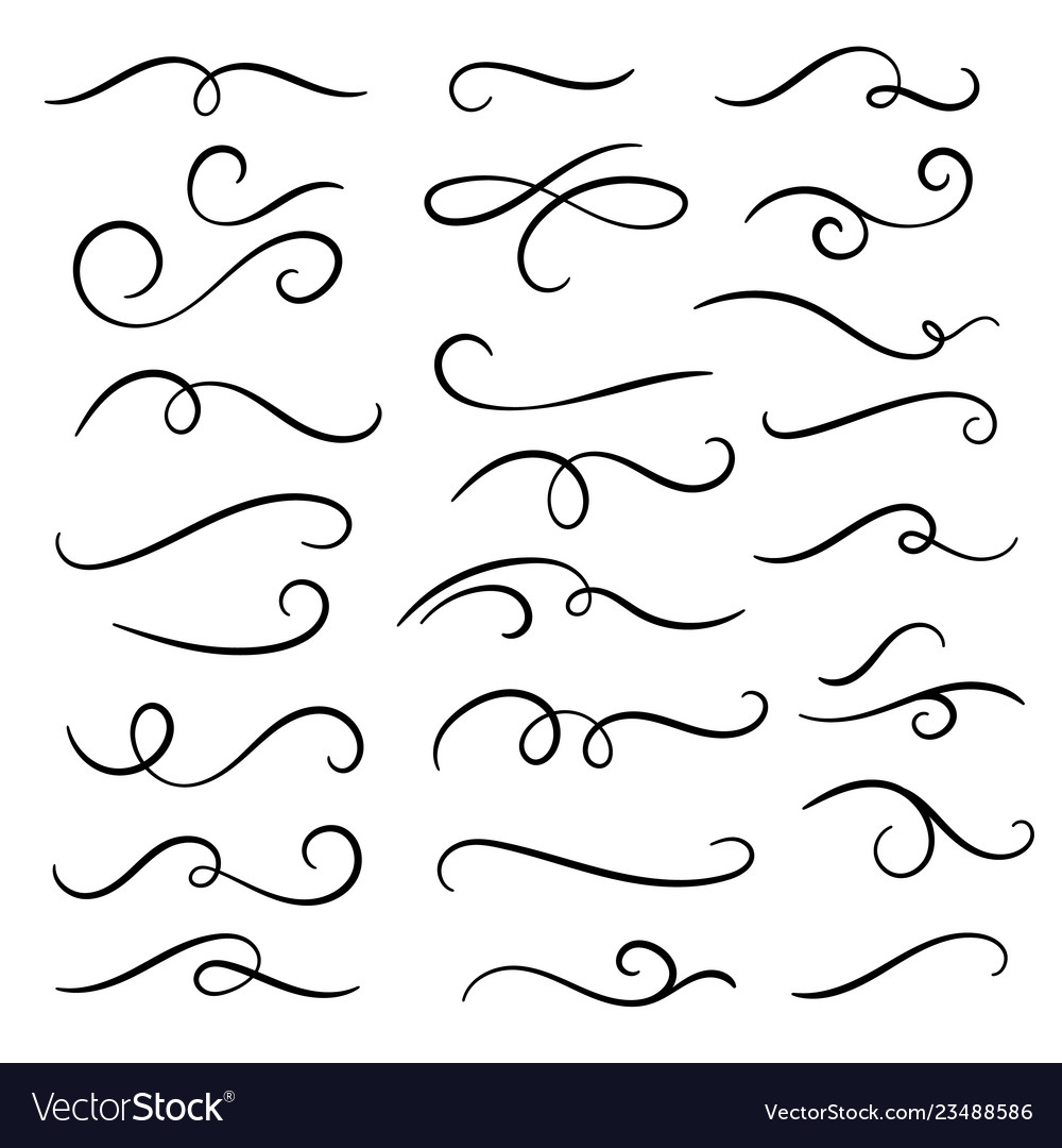 Hand drawn flourishes swirls text dividers