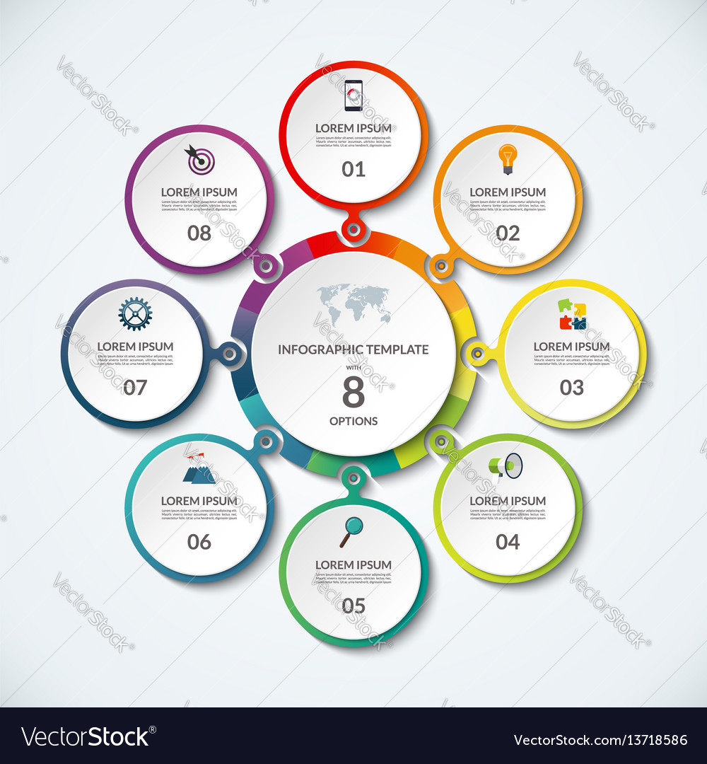 Infographic banner with 8 options vector image