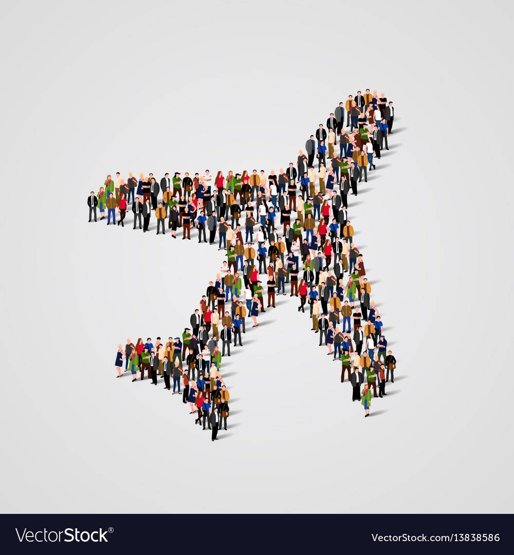 Large group of people in the airplane shape