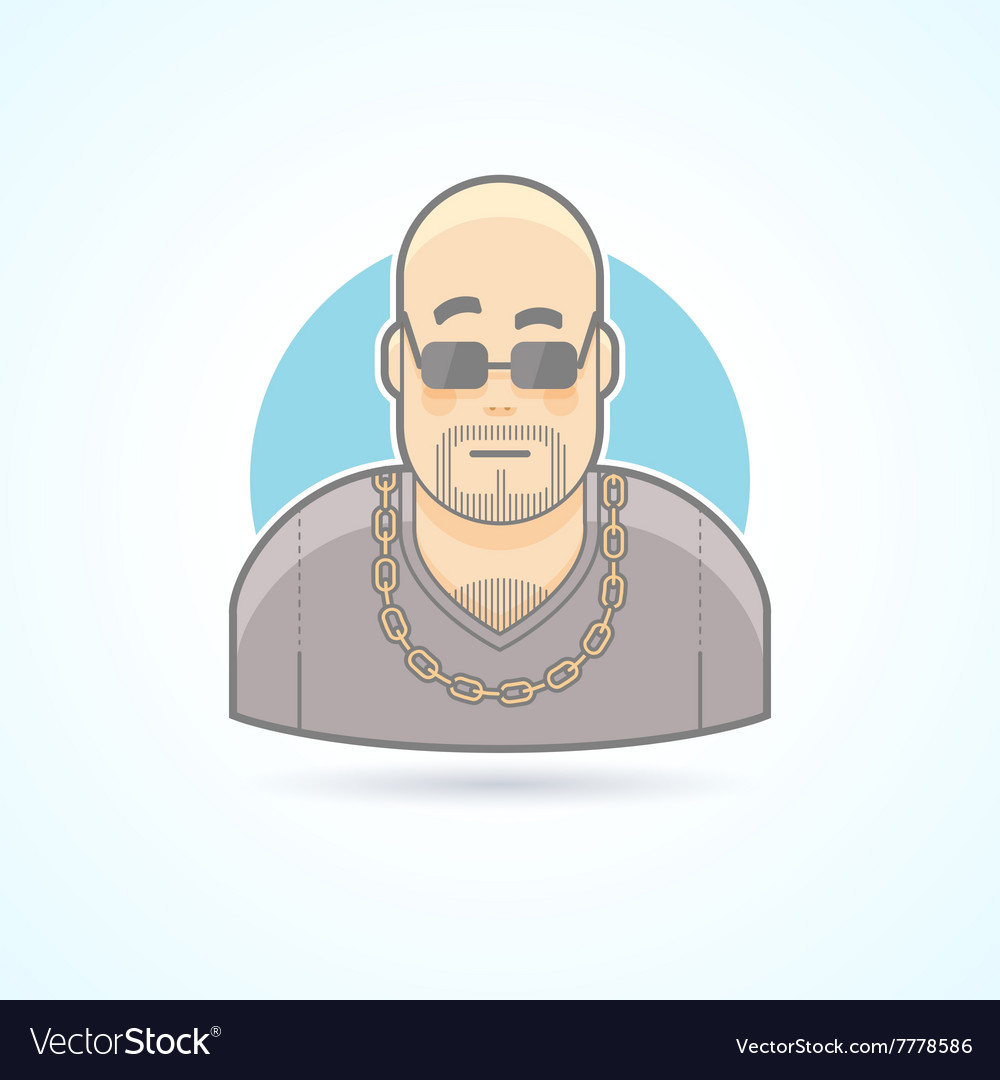 Nightclub bouncer security chief bodyguard icon vector image