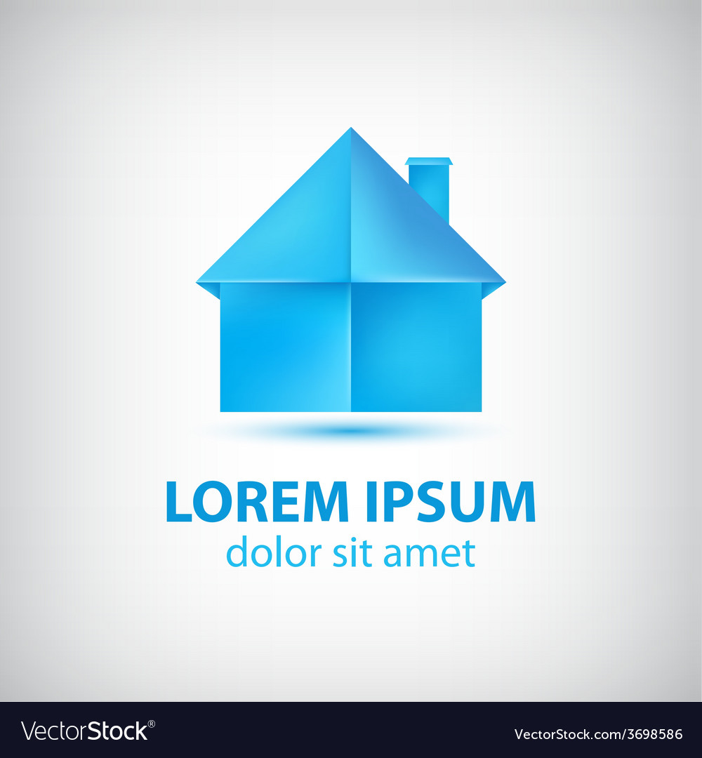 Paper origami blue house icon