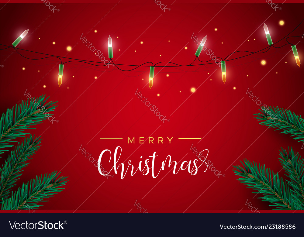 Red christmas card with lights and pine tree