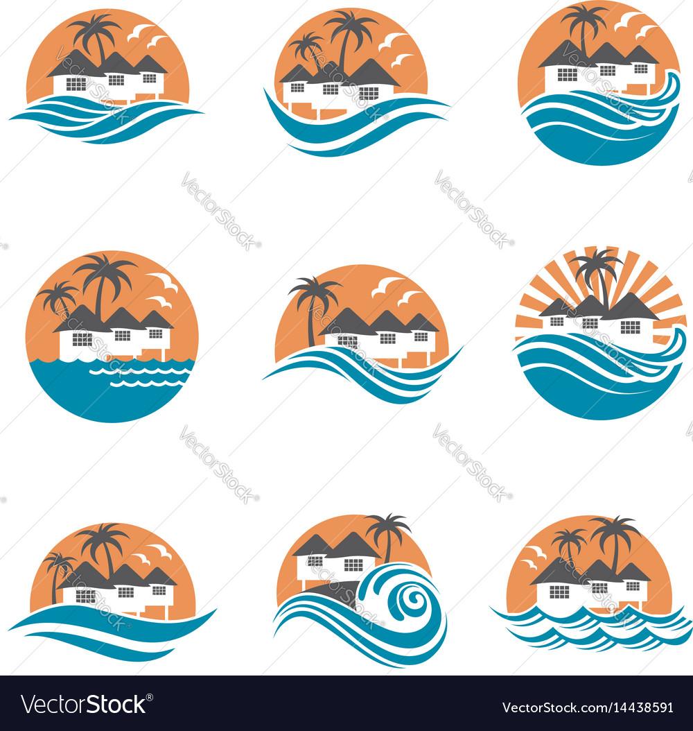 Beach house logo set