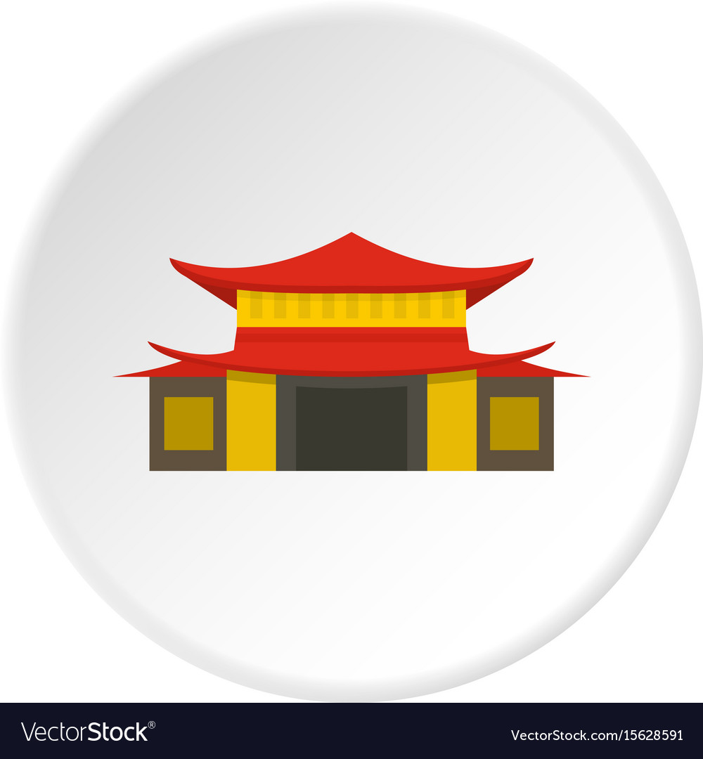 Chinese temple icon circle vector image
